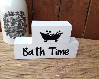 Bath time - Wooden Shelf Decor Blocks, painted wooden blocks, quote block, shelf sitter block, bathroom ornament, stacker blocks,