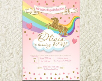 Rainbow Unicorn Birthday Invitation, Unicorn Magical Party Invitation, Rainbow Unicorn Birthday Party Invite, Pink And Gold Unicorn Invite