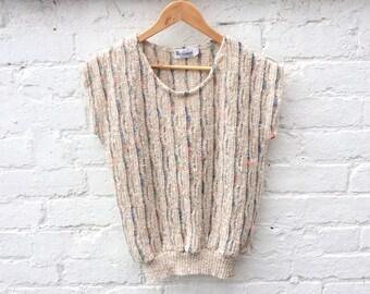 Summer knit, vintage 80's sweater, short sleeve pullover, oatmeal slub knitwear