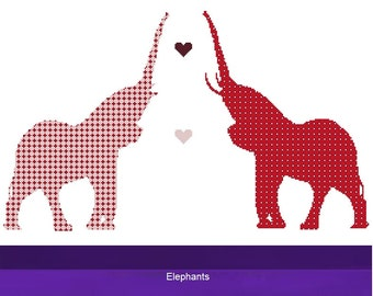 Cross Stitch Kit - Elephant Red and Pink  - DMC Materials - Choose Your Own Colours