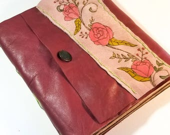 Handbound Leather Journal With Floral Pyrography / Pink Floral Diary