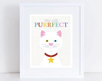cat illustration - you are purrfect print, art for cat lover gift, inspirational art, white kitten, nursery decor difference apperance, kids