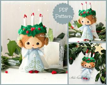 Candle angel. Christmas.  PDF pattern. Felt doll.