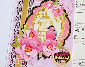 Bird Birthday Card, Handmade Card, 3D Birthday Card, Feminine Birthday, Birthday Greeting Card, Card for Her, Pink Birthday Card