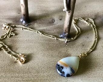 Anazonite Teardrop Pendant Gold Chain Necklace