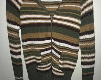 90s earth tone striped hoodie size small