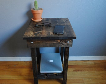 One Rustic Wood Side End Table Night Stand with Lower Shelf  18x15x you choose height