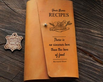 Leather recipes book /Refillable cookbook/ Leather notebook with replaceable paper bloks/Handmade Leather sketchbook/Gift for her