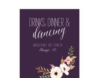 Flower Waltz eggplant wedding invitation suite; SAMPLE ONLY