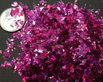Magenta Holographic Flakes Solvent Resistant Large Flakies Pink Glitter Shreds