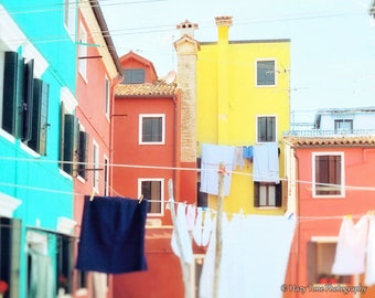 Laundry Room Art, Italy Wall Art Print, Summer Outdoors, Italy Photography Burano Italy Photo Pastel Art Laundry Room Decor Horizontal Print