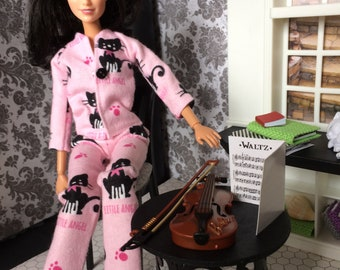 Barbie Doll Size Flannel Pajamas / PJs Outfit - Winter Pajama - Pink with Kitties