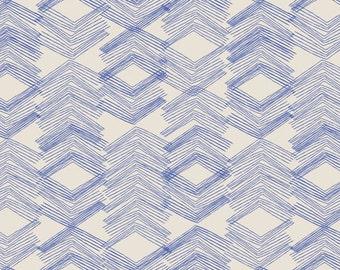 Indigo Blue Geometric Print  - Morning Walk by Leah Duncan for Art Gallery - Limestone Feel Indigo - Fabric By the Half Yard