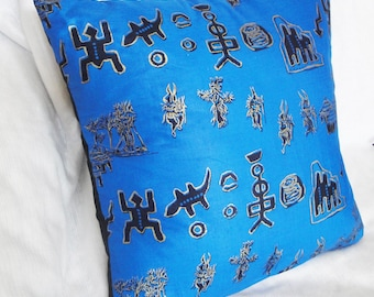 "Blue African tribal print pillow cover, rare, black, metallic gold, 12x16"", 14"", 16"", 18"", 20 inches"