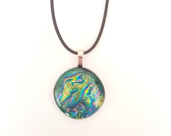Green dichroic fused glass pendant