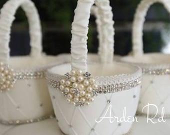 Wedding Flower Girl Basket/Vintage Wedding/Elegant Basket/Pearl Basket/Handmade Basket/Elegant Wedding/Crystal Basket