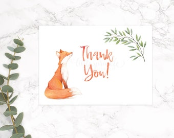 Fox Thank You Card, Woodland Thank You Card, Baby Shower Thank You Card, Forest Animals Fox Thank You Card