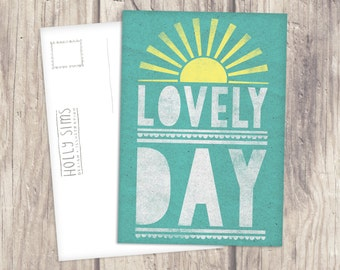 Lovely Day Illustrated Typography A6 Postcard Print - Stationery - Single Postcard - Lovely Home Idea