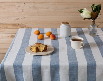 "Linen tablecloth-Tablecloth-Table linens-Linen Tablecloth in Blue and White color-Dining tablecloth-Width 59''(150)""x Custom length"