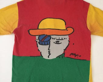 Authentic 1980's Peter Max zero man double sided all over print polo shirt vintage neo max peter max pop art t shirt Medium RARE