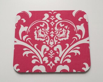 Mouse Pad in Hot Pink & White Damask; Cute Office Decor, Teacher Appreciation Idea, Coworker Gift, Office Accessories for Women, Mousepad