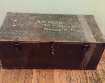 Wooden Military Trunk, Vintage Military Footlocker, Old Wooden Trunk