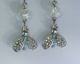 Blue and White Bee Earrings