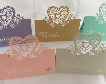 Wedding laser cut heart design pearlescent Place Cards. Personalised text, font and colour!