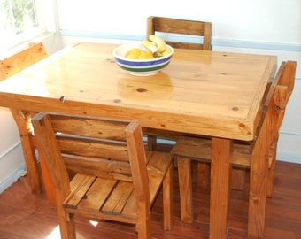Rustic kitchen table etsy handmade reclaimed rustic kitchen table and chairs chairs sold separately workwithnaturefo