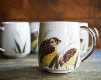 Vintage Quail Mugs | Stoneware Coffee Cups | Autumn Entertaining | Fall Birds | Coffee Break | Rustic Kitchen Decor | Set of 4 Hot Chocolate