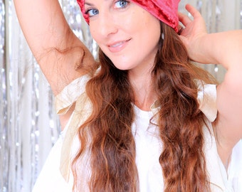 Turban Hat in Red Crushed Velvet - Bohemian Fashion Hair Wrap - Lots of Colors
