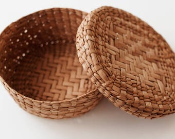 Vintage Woven Basket with Lid