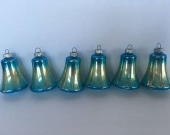 Vintage Glass Shiny Brite Blue Christmas Ornaments - Glass Bell Ornaments - Blue Ombre - Mid Century - Shabby Chic - Set of 6