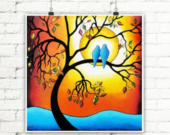Tree of Life Wall Art Love Birds Art Print Autumn Decor Abstract Landscape Gift for Couples