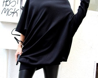 SALE Oversized Black Asymmetryc Top / Both short and long sleeves / Casual Loose Blouse A01101