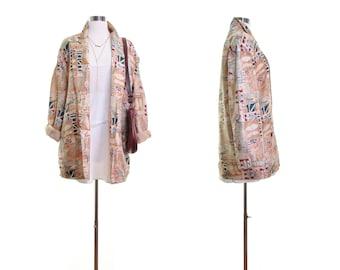 SEASIDE Ocean Nautical print jacket SILK blazer artsy jacket vintage 80s blazer grunge jacket slouchy oversized 80s jacket print womens l