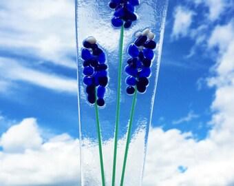 Fused Glass Garden Plant Stake. TX Bluebonnets Flowers