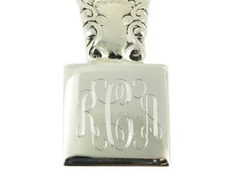 925 Sterling Silver Classical Elegant Square Monogram Personalized Pendant
