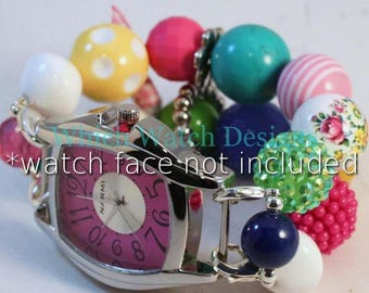 SALE Garden Party.. Chunky Pink, Green, Yellow, and Turquoise Floral Acrylic Interchangeable Beaded Watch Band