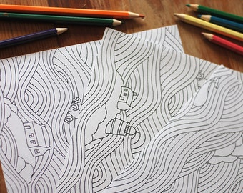 Printable Coloring Pages - A Set of Three Sea Coloring Pages