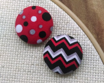 Needle Minder Chevrons and Polka Dots, 2 Piece Reversible Scout and Remy, For Cross Stitch, Sewing, Embroidery