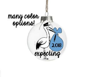 Stork Ornament, Pregnant Ornament, Expecting Baby Ornament, Expecting Christmas Ornament, Expectant Mother Gift, Expecting Ornament,Baby Boy