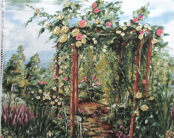 "Rose Arbor Fabric Panel - Michael Miller 3362 - Roses Garden Romance  100% Cotton -  23.5"" x 21.5"""