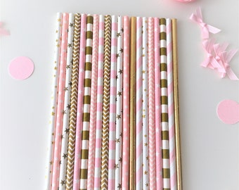 20 Paper Party Straws, Pink and Gold, First Birthday, Its a Girl, gender reveal, baby shower, Princess birthday, Unicorn Party. Engagement