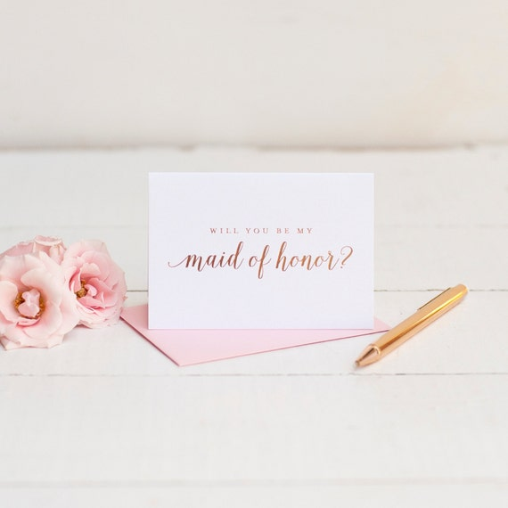 Will You Be My Maid of Honor card with rose gold foil bridesmaid proposal wedding party gift box foil stamped blush pink bridesmaid cards