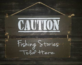Handpainted Reclaimed Wood Fishing Sign