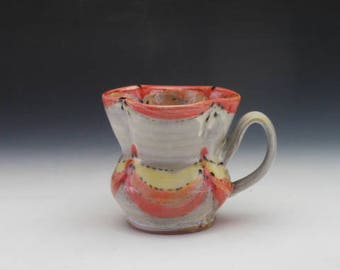 Mug, Handcrafted Red, Orange and Yellow Flower