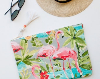 Oversized Zipper Pouch / iPad Pro Case / Pink Flamingo