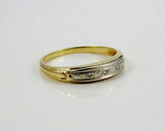 C.1930s 14K Yellow and White Gold Wedding, Midi or Right Hand Stacking Band with Three Single Cut Diamonds LB205