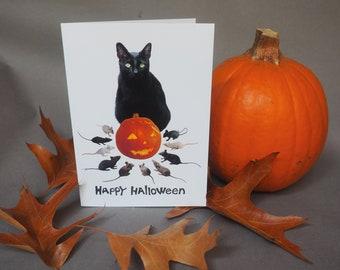 Black Cat Jack-o-Lantern with Rats Halloween Card, Black Cat with Pumpkin Halloween Card